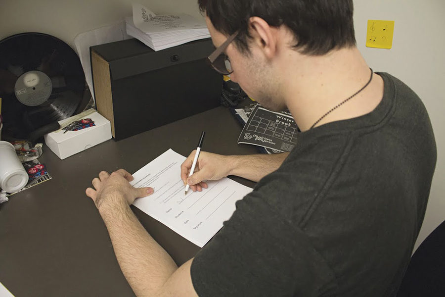 David Siegel, a computer science student, signs the petition against Prof. Anastase Mastoras.