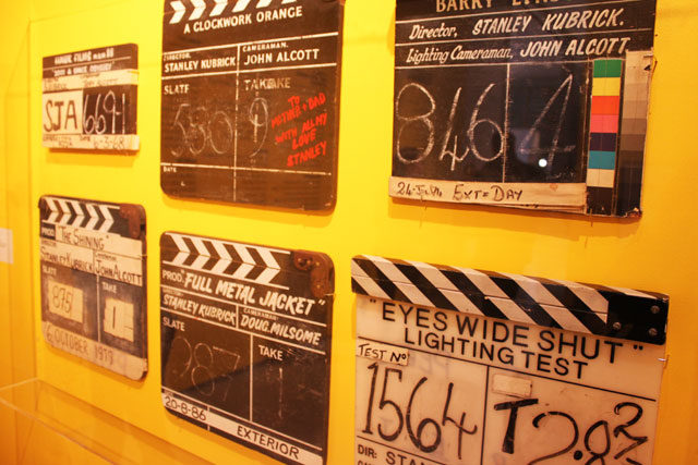 Film slates from Stanley Kubrick's films throughout his career. (Samantha Sobolewski/The Ryersonian)