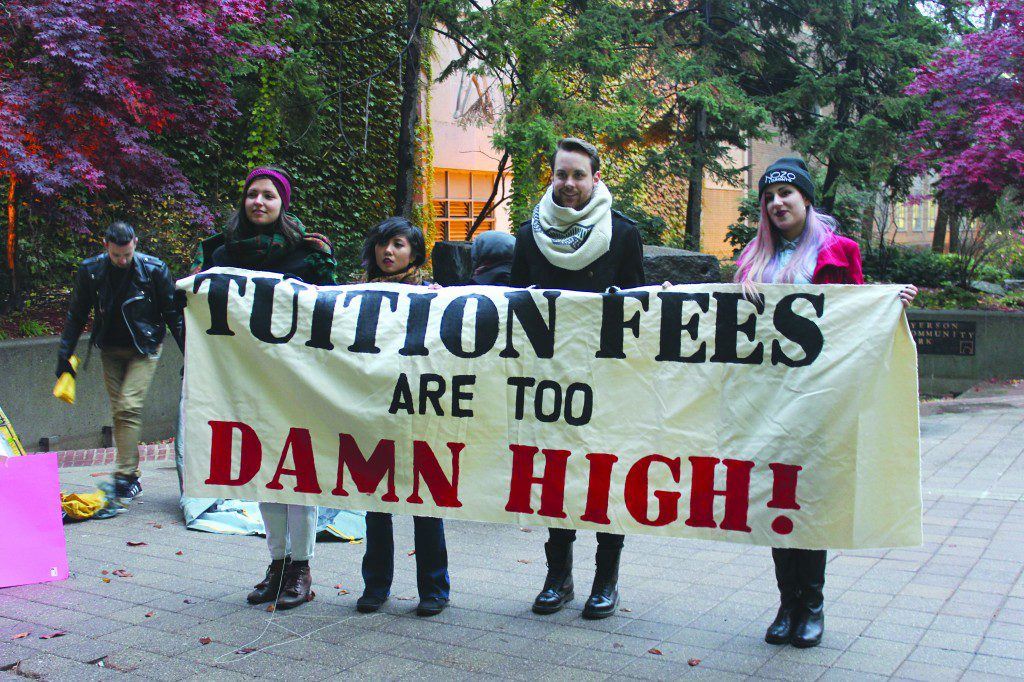 Students rally to lower tuition fees at a Ryerson Students' Union Freeze the Fees events.  (Marija Petrovic, Ryersonian Staff)