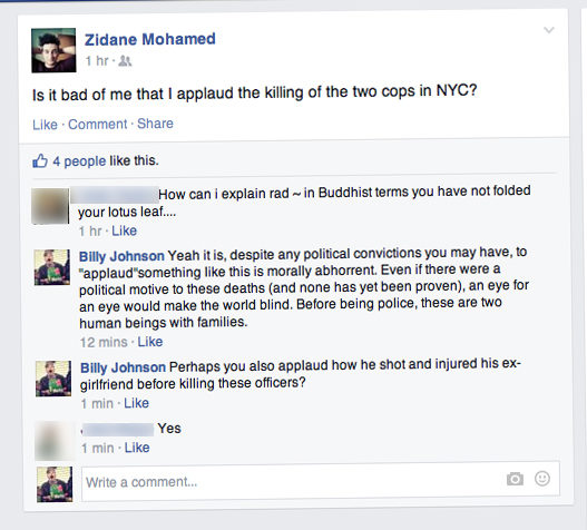 A Ryersonian reporter grabbed this screenshot Dec. 25, 2014 from Zidane Mohamed's private Facebook profile.