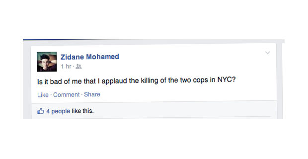 Unite Ryerson candidate applauds killing of New York City police officers