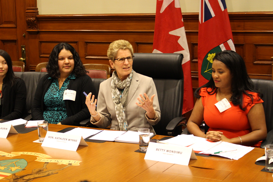 In this Jan. 16 file photo, Premier Kathleen Wynne meets with Ontario university and college representatives at Queen's Park. (Courtesy of Tristan Simpson/Ryersonian Staff)