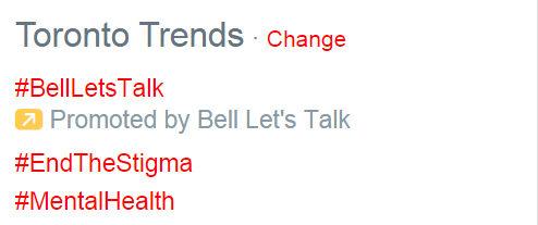 On Bell Let's Talk Day 2015, #BellLetsTalk, #EndTheStigma and #MentalHealth trend on Twitter. (Courtesy Twitter)