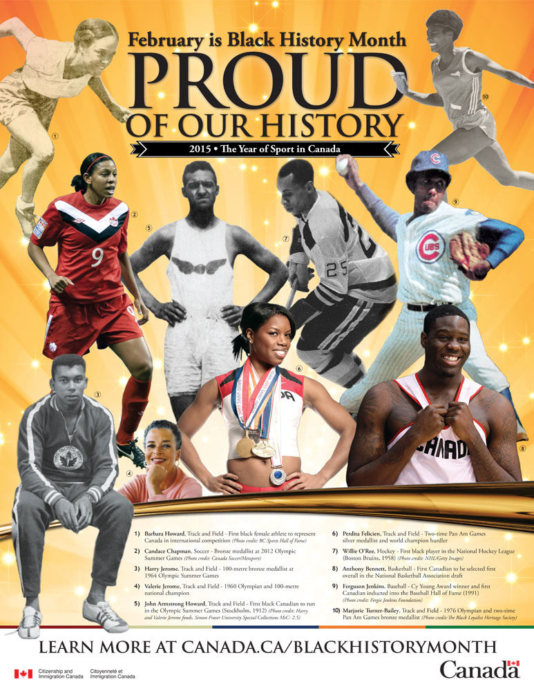 Black History Month was first recognized by the Canadian government in 1995. This year we recognized achievements of African-Canadians in sport . (Courtesy Citizenship and Immigration Canada)