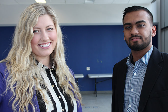 Ryerson students Andrea Bartlett (left) and Ravi Persaud were chosen in the CEO x 1 Day program. (Aaron Navarro / Ryersonian Staff)