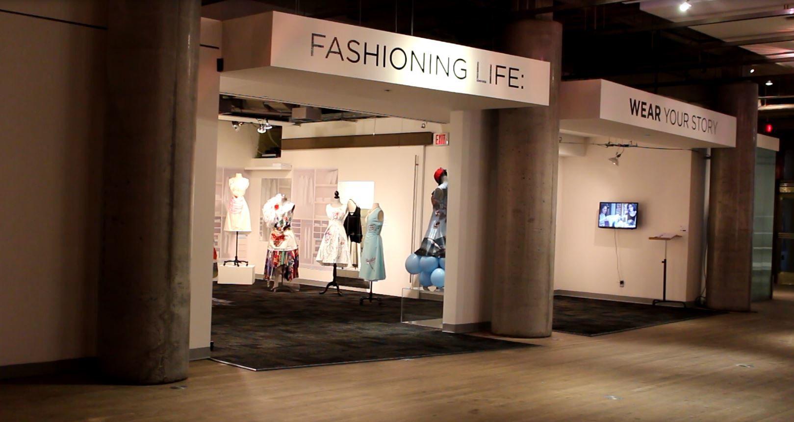 Wide-shot of Fashioning Life: Wear Your Story exhibit in Toronto. (Caroline Dinnall / Ryersonian Staff)