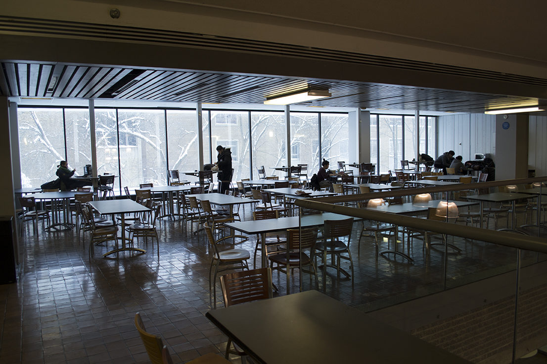 Students study on the upper floor of the Hub cafeteria. Photo by: Sean Wetselaar/Ryersonian Staff