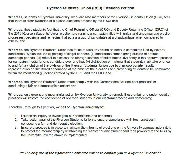 This  copy of the petition, obtained by The Ryersonian, is what was presented to students.