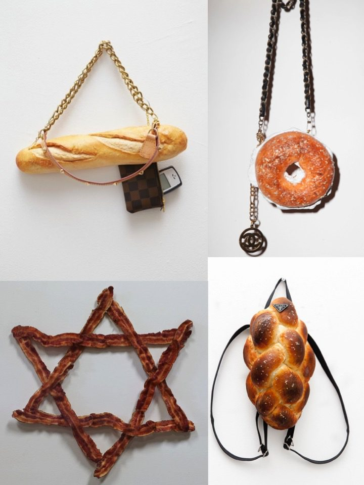 Top left: Louis Vuitton Baguette. Oil paint, urethane, found hardware, Nokia phone. 2013. Top right: Bagel No.5. Oil paint, urethane, sesame seeds and found hardware. 2014. Bottom left: Star of Larry David. Oil paint and epoxy on urethane. 2013. Bottom right: Ain't No Challah Back(pack) Girl. Oil paint, urethane, sesame seeds, solicited Prada hardware. 2014