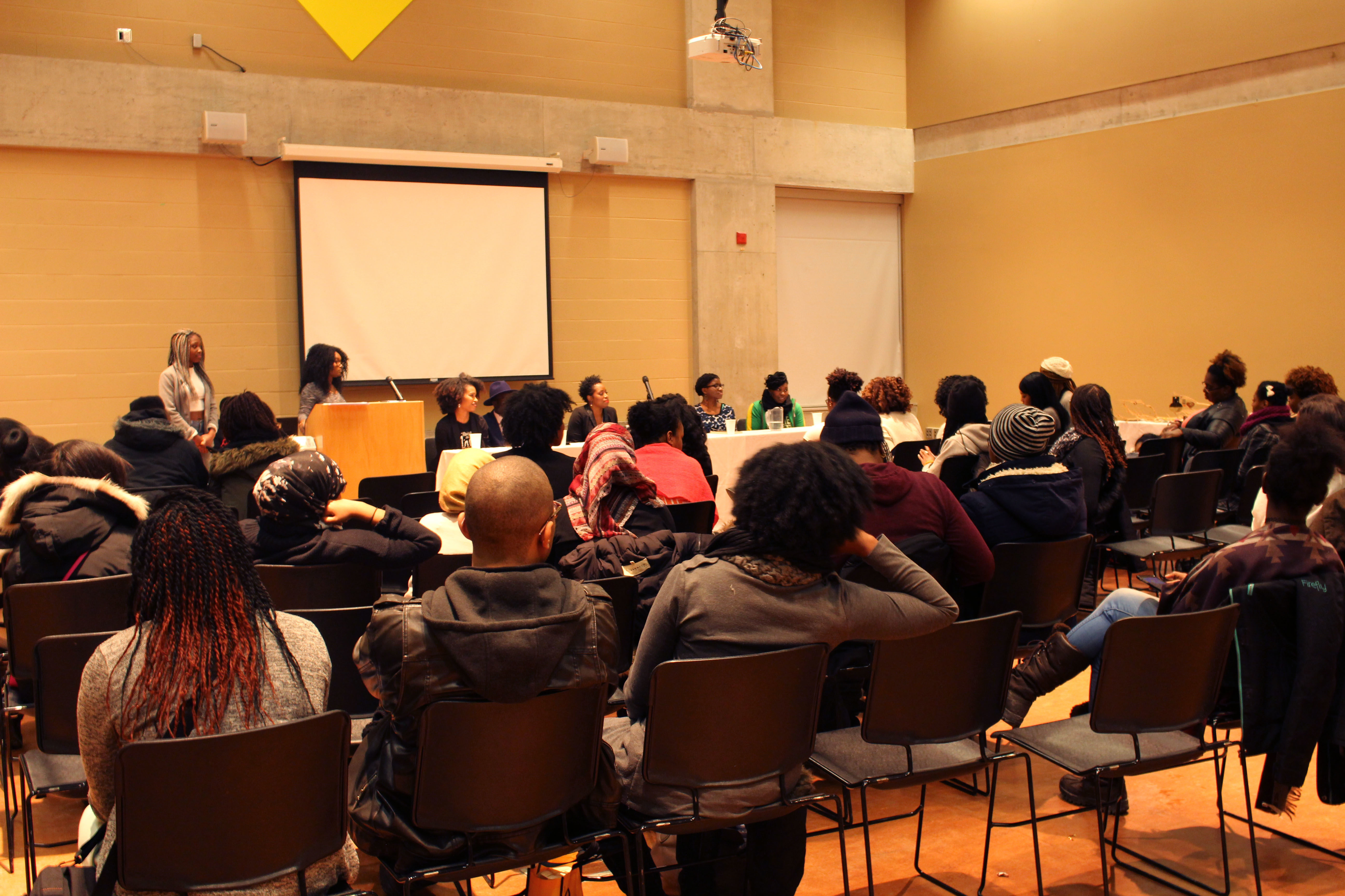 Back view of guests listening in on the panel discussion. (Tari Ngangura / Ryersonian Staff)