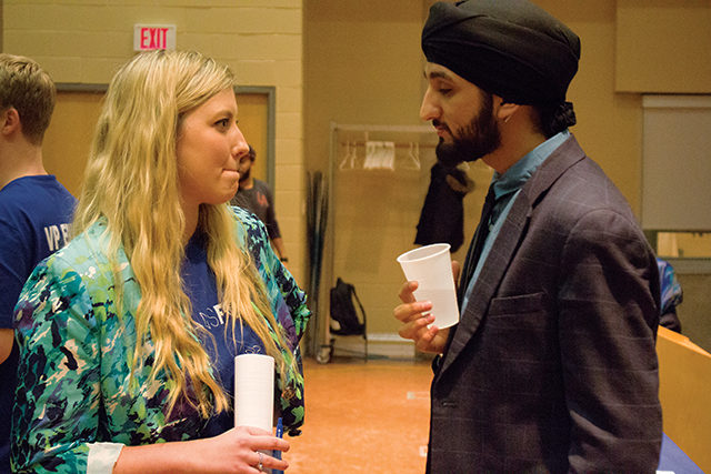 Transform RU's Andrea Bartlett (left) and Harman Singh (right) at the election debate. (Kyla Dewar / Ryersonian Staff)