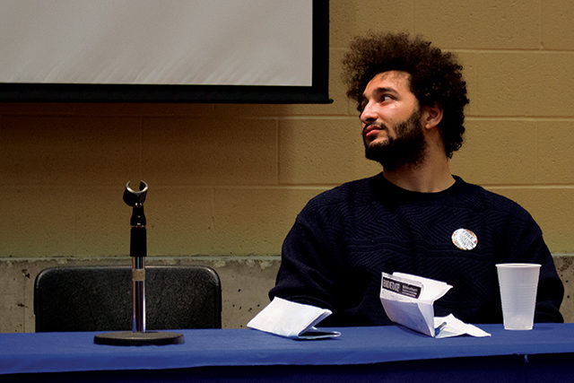 Zidane Mohamed at the Feb. 2, 2014 all-candidates debate. (Ryersonian staff)