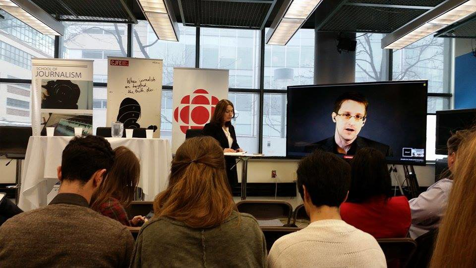 Snowden speaking about cyber-security (Marija Petrovic/ Ryersonian Staff)