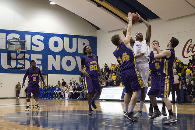 Kadeem Green contributed 12 points for Ryerson at last Saturday's OUA quarter-final game against the Laurier Golden Hawks. (Courtesy of Ryerson Athletics)
