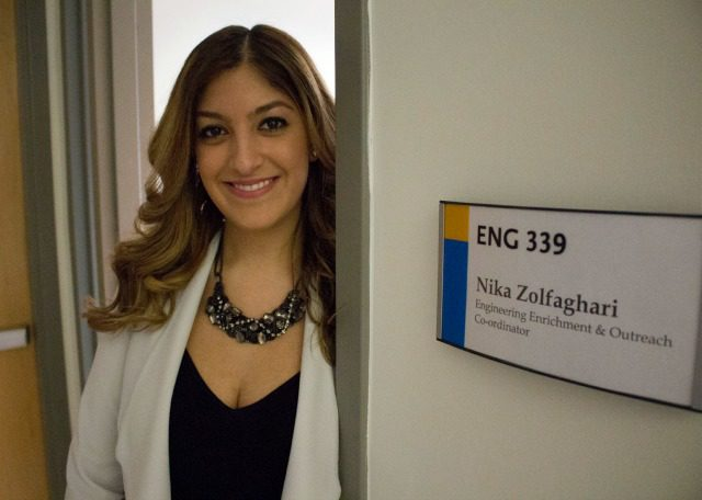 Nika Zolfaghari stands by her office in the George Vari Engineering and Computing Centre. (Courtesy of Emily Joveski/Ryersonian Staff)