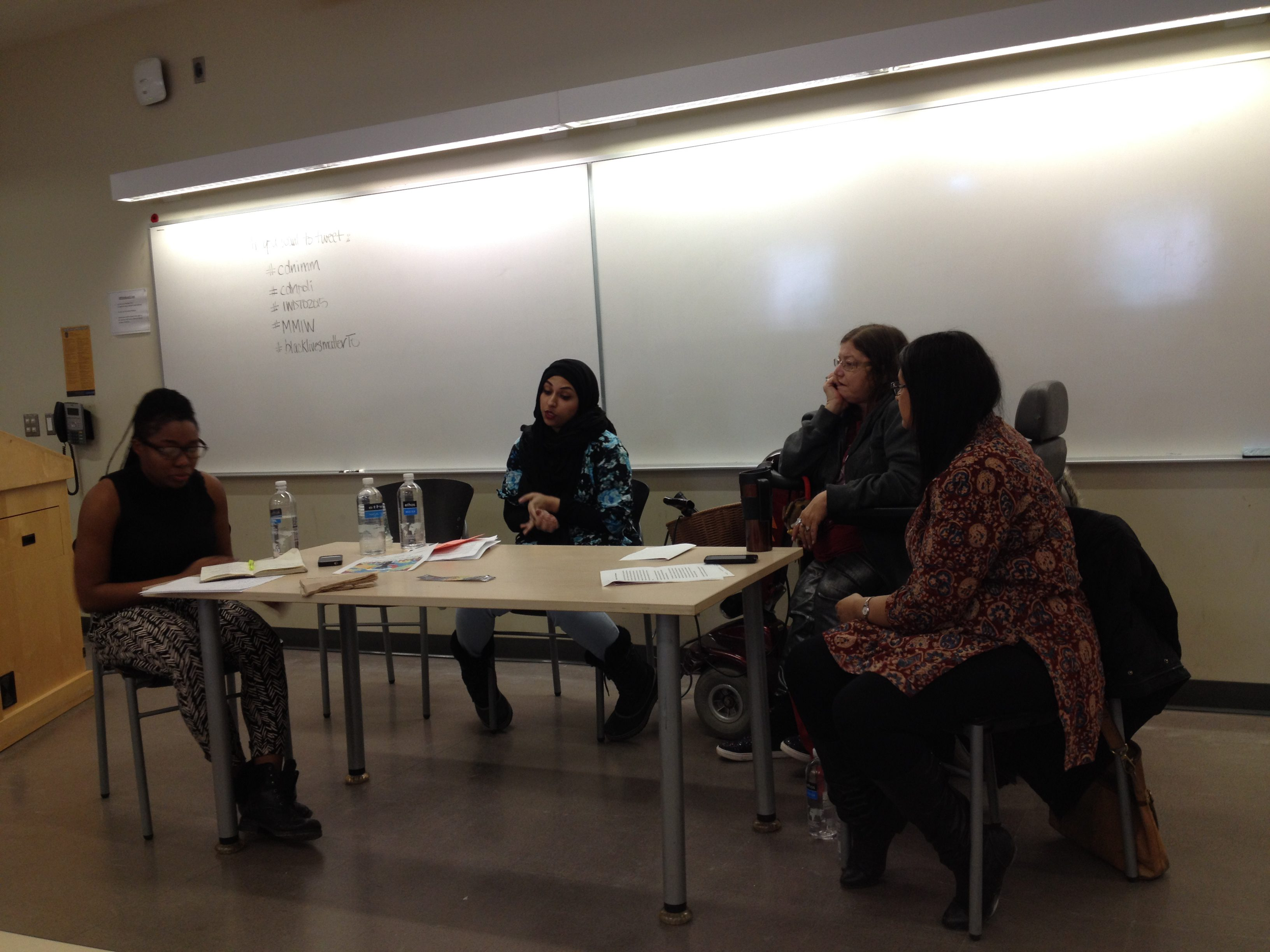 Panelists  talk to  a group at Ryerson about   justice for indigenous people, racialized and migrant workers. (Courtesy of Sonia E Boury/ Ryersonian Staff)