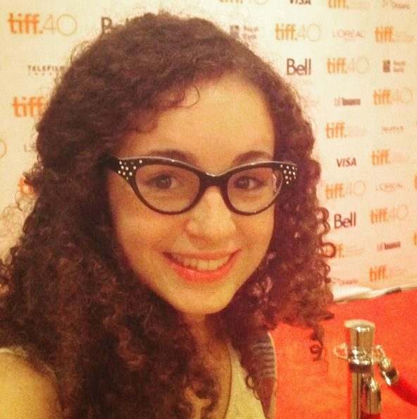Nadia Marzouca, a third-year film student at Ryerson, at a press conference for TIFF in August. (Instagram)