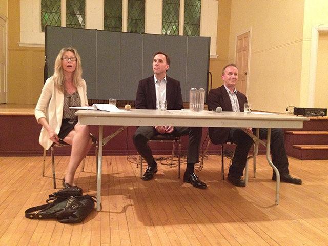 Linda McQuaig, Bill Morneau and Colin Biggin at the St. James Town debate. (Kiah Berkeley / Ryersonian Staff)