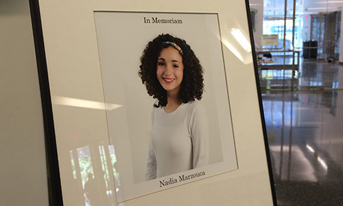 A memorial for third-year film student Nadia Marzouca stands in the Image Arts Building lobby on Sept. 30. (Madeline Smith / Ryersonian Staff)