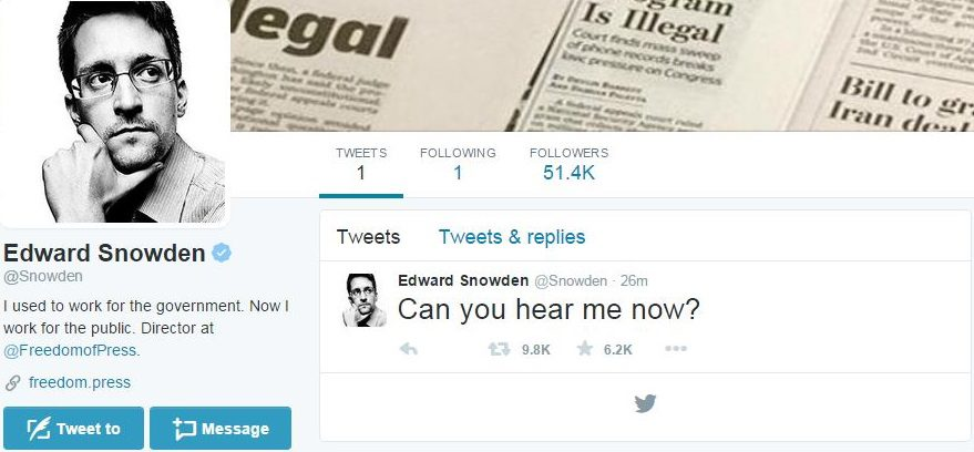 US intelligence whistlblower Edward Snowden's Twitter profile. Via Twitter