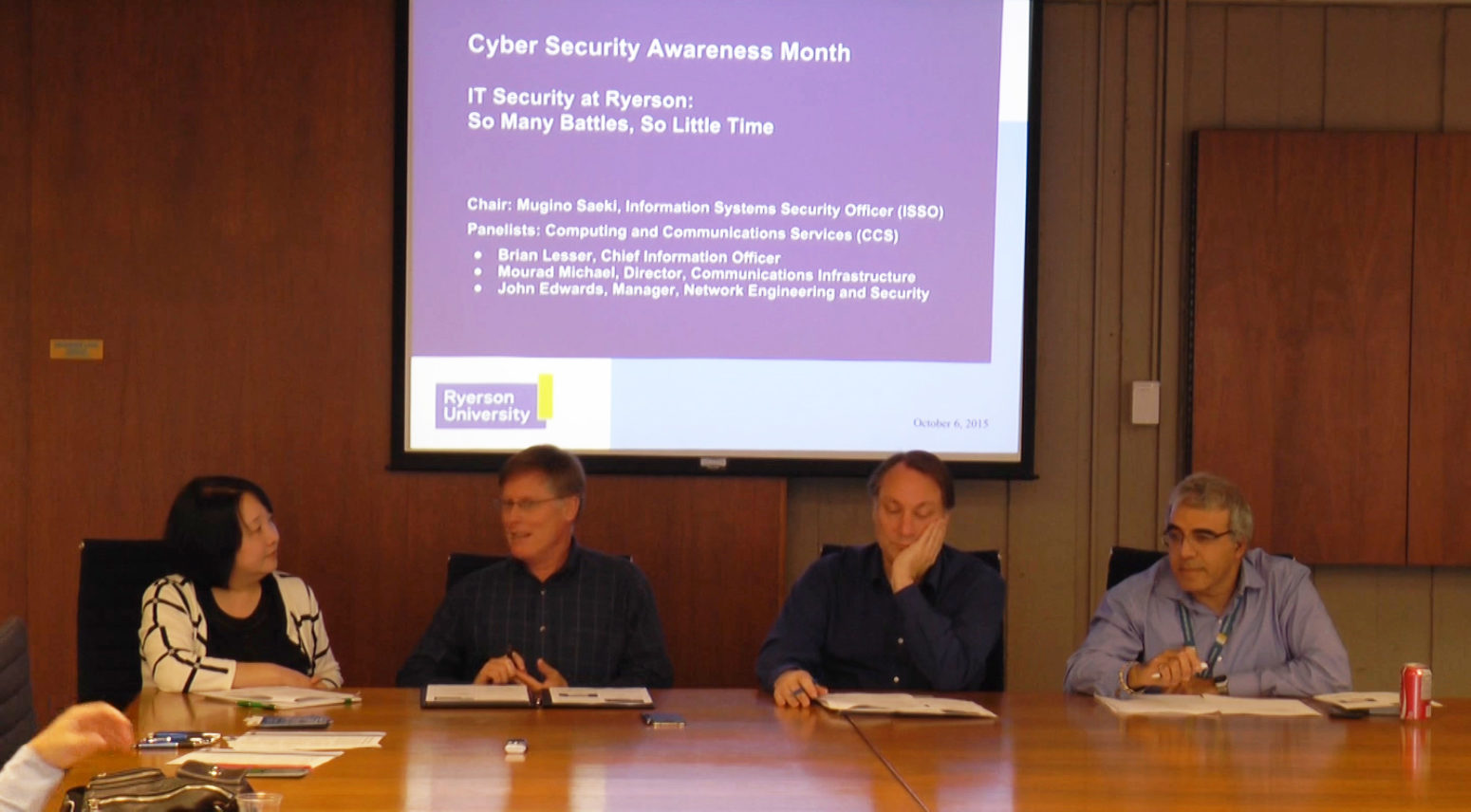 A panel on cyber security was held at Ryerson Oct. 6. (Aengus Mulroney / Ryersonian Staff)