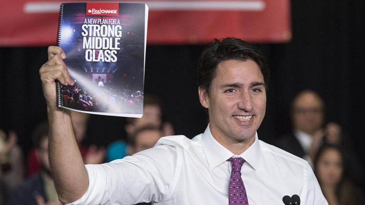 Liberal leader Justin Trudeau unveils the party's platform on Wednesday (Courtesy Twitter)