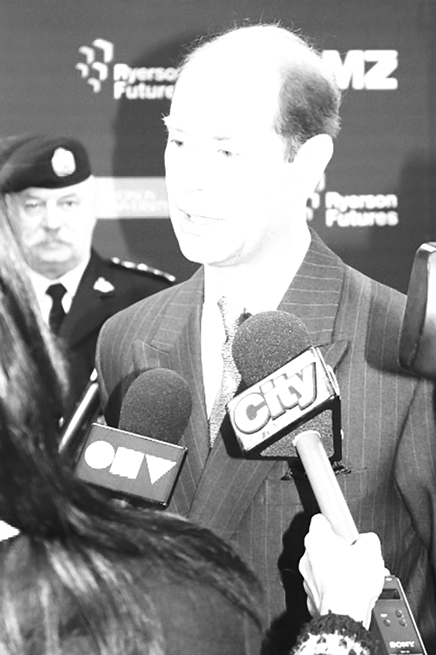 Prince Edward, Queen Elizabeth's youngest son, visited Ryerson's Digital Media Zone on Oct. 27, 2015. He was joined by lieutenant-governor of Ontario Elizabeth Dowdeswell and Sheldon Levy to discuss innovation and education with young entrepreneurs. (Krista Robinson/Ryersonian Staff)