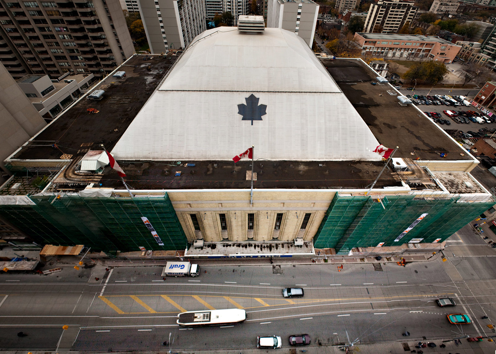 The former Maple Leaf Gardens during its conversion into the Mattamy Athletic Centre. November 2010. (Steven Goetz/Ryersonian Staff)