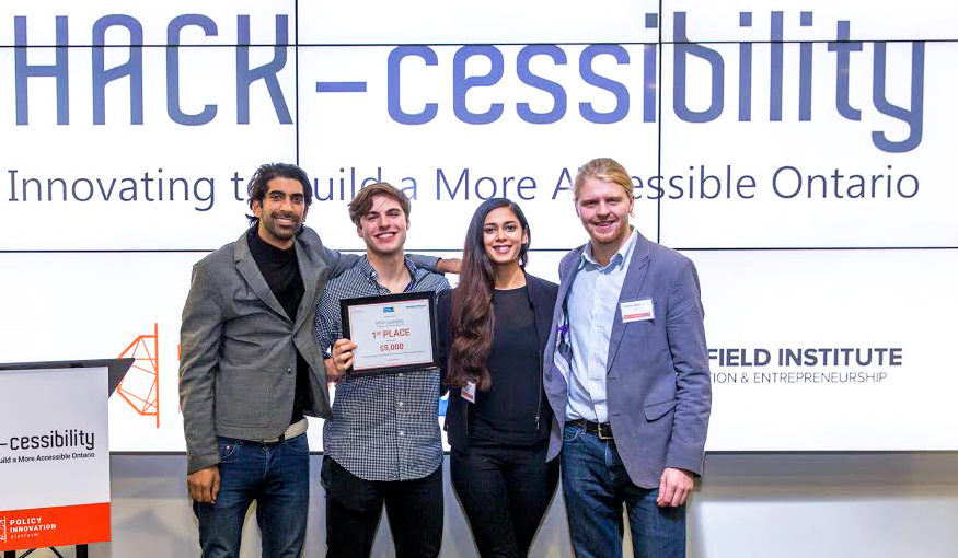 First-place winners Abil won $5,000 from the DMZ. Left to right: Abid Virani, Misha Mykitiuk, Alwar Pillai, and Graham McLaughlin. (Courtesy Laura Rossi/Ryerson)