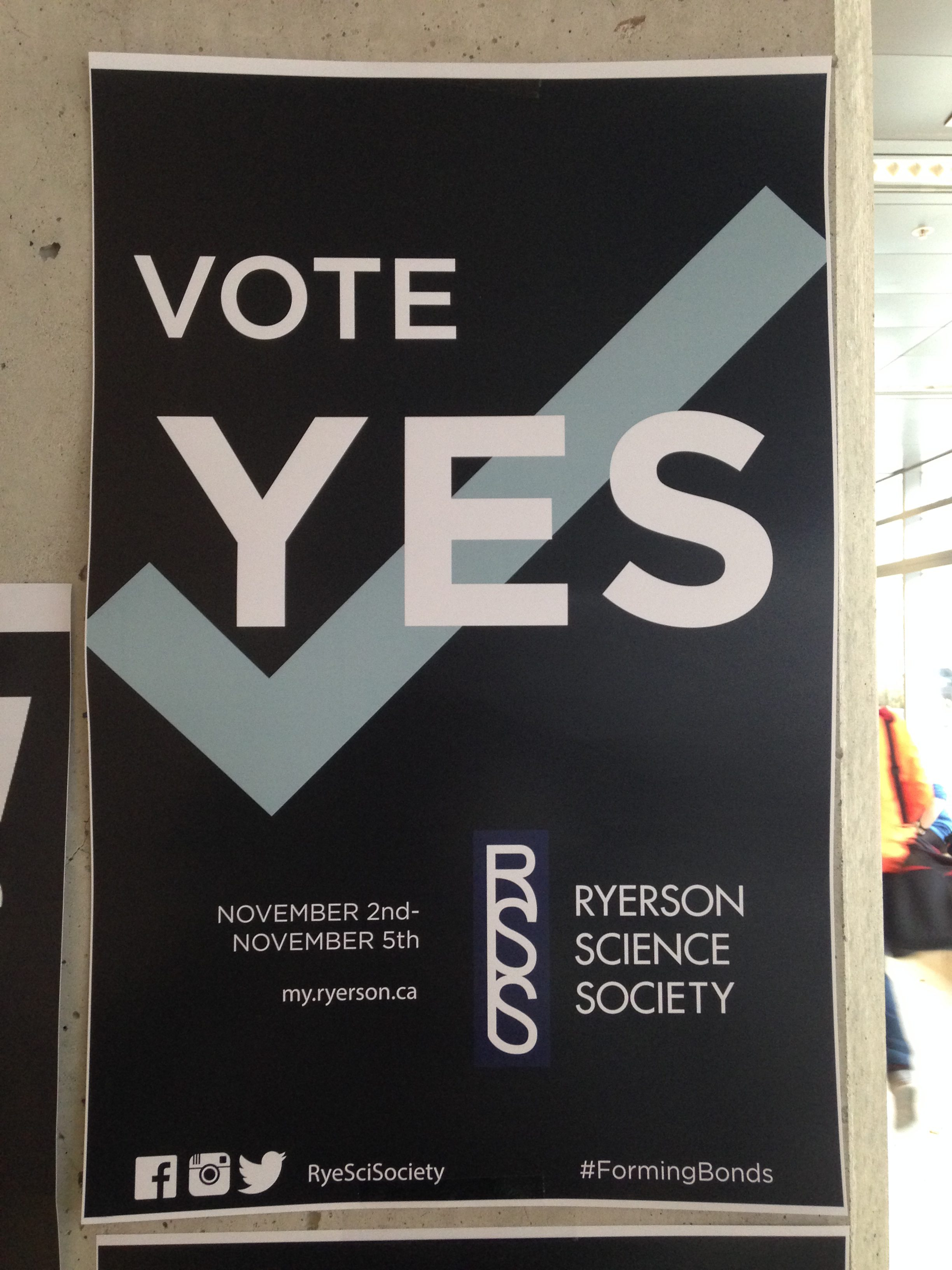 The campaign poster for Ryerson Science Society rejected by the faculty of science students. (Abby Chan/Ryersonian Staff)
