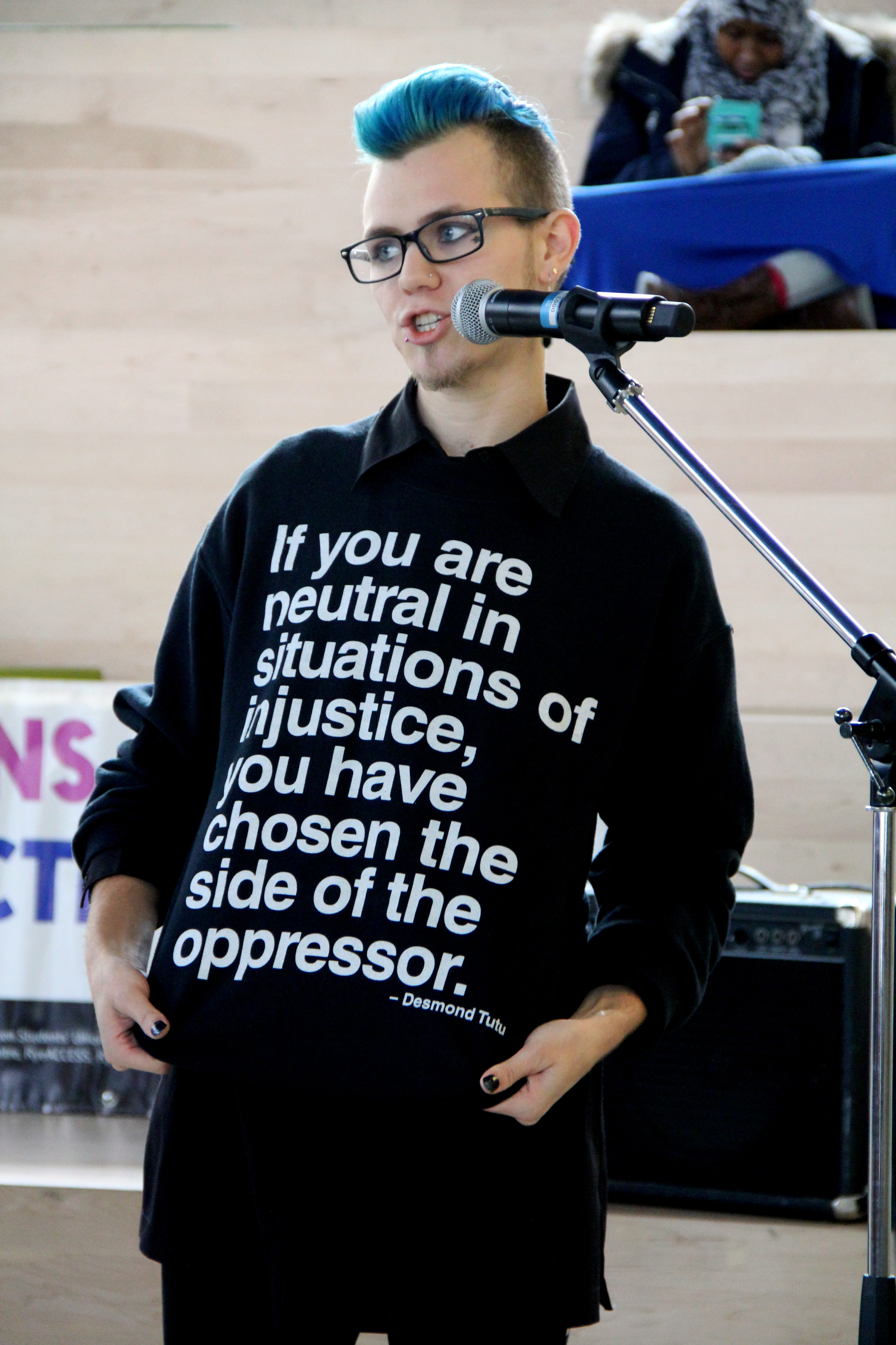 Markus Harwood-Jones, who also goes by Star is a member of the Trans Collective. Harwood-Jones is pictured, opening the Trans Day of Remembrance Ceremony at the student learning centre on Nov. 20, 2015