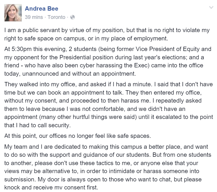 RSU president Andrea Bartlett's Facebook post.