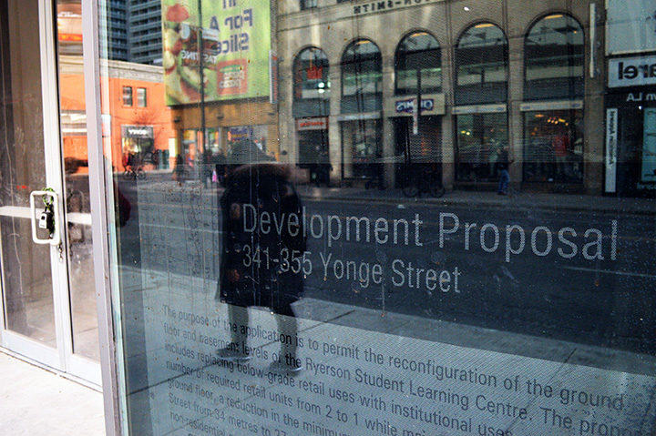 The development proposal posted on the Student Learning Centre in Toronto on Jan. 25, 2016(Olivia McLeod/Ryersonian Staff).