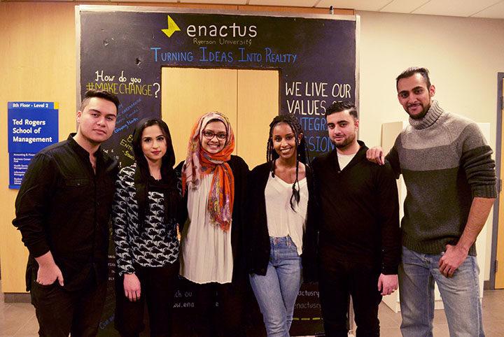 From left to right: Anthony Garcia, Aysha Azeez, Tayyaba Sakhi, Anna Gaber, Naser Malik, Samad Nasim.