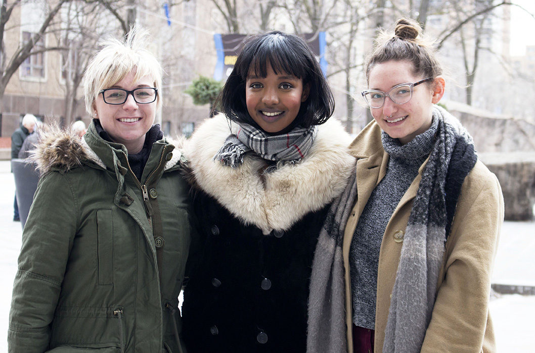 From left to right: members of the Ryerson Feminist Collective Alyson Rogers, Awo Abukor and Jackie Mlotek (Gregory Hanna/Ryersonian Staff).