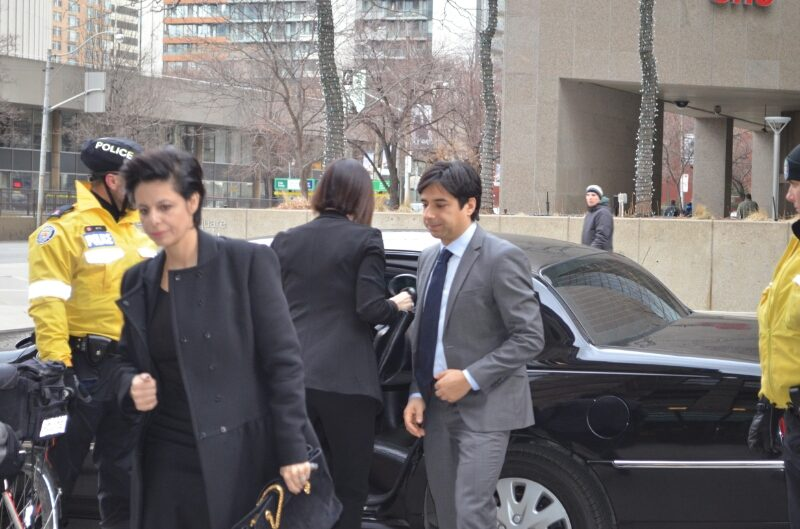 Jian Ghomeshi getting out of his car on Feb. 5, 2016 (Aidan Cox/Ryersonian Staff)
