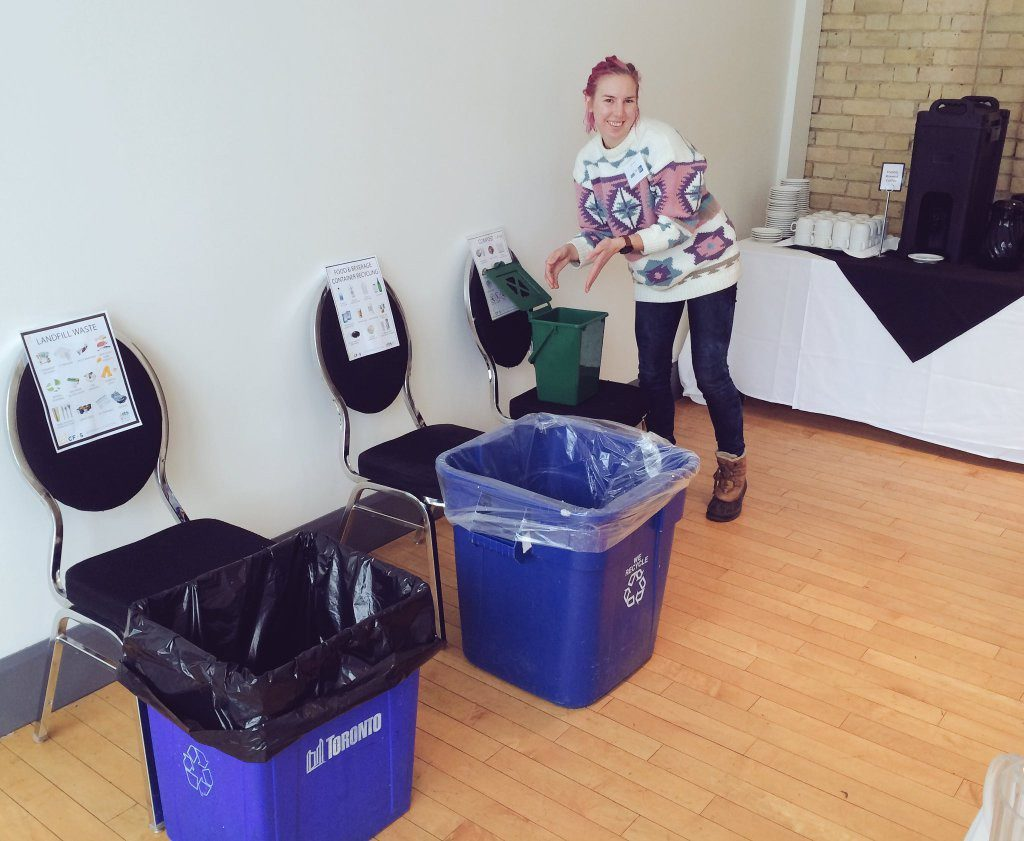 Sarah Brigel composting at the Jack Layton Leadership School. Courtesy Twitter @microbehub