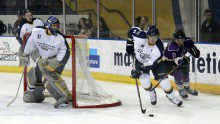 Brian Birkhoff skates the puck out from behind the Rams net. Photo Josh Beneteau/ Ryersonian Staff.