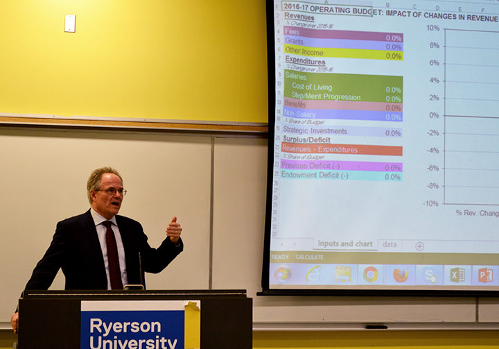 Paul Stenton speaks to the Ryerson community at a town hall budget meeting