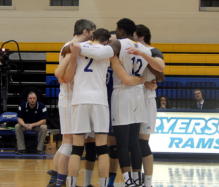 Ryerson's mens volleyball team is headed to the Final Four after defeating the Western Mustangs 3-1 on Saturday.
