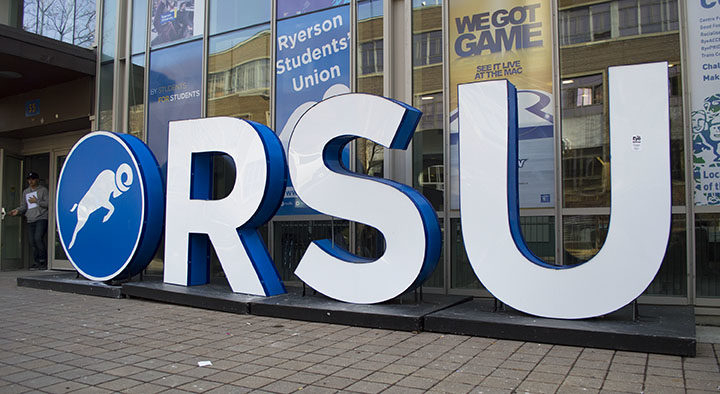 Ryerson Students' Union sign on Gould St. (Olivia McLeod / Ryersonian Staff)