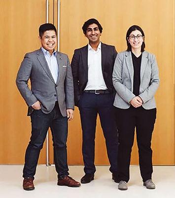 Left to right: Raymon Atienza, Danny Porthiyas and Stephanie Iossifidis (Courtesy Ryerson University Magazine).