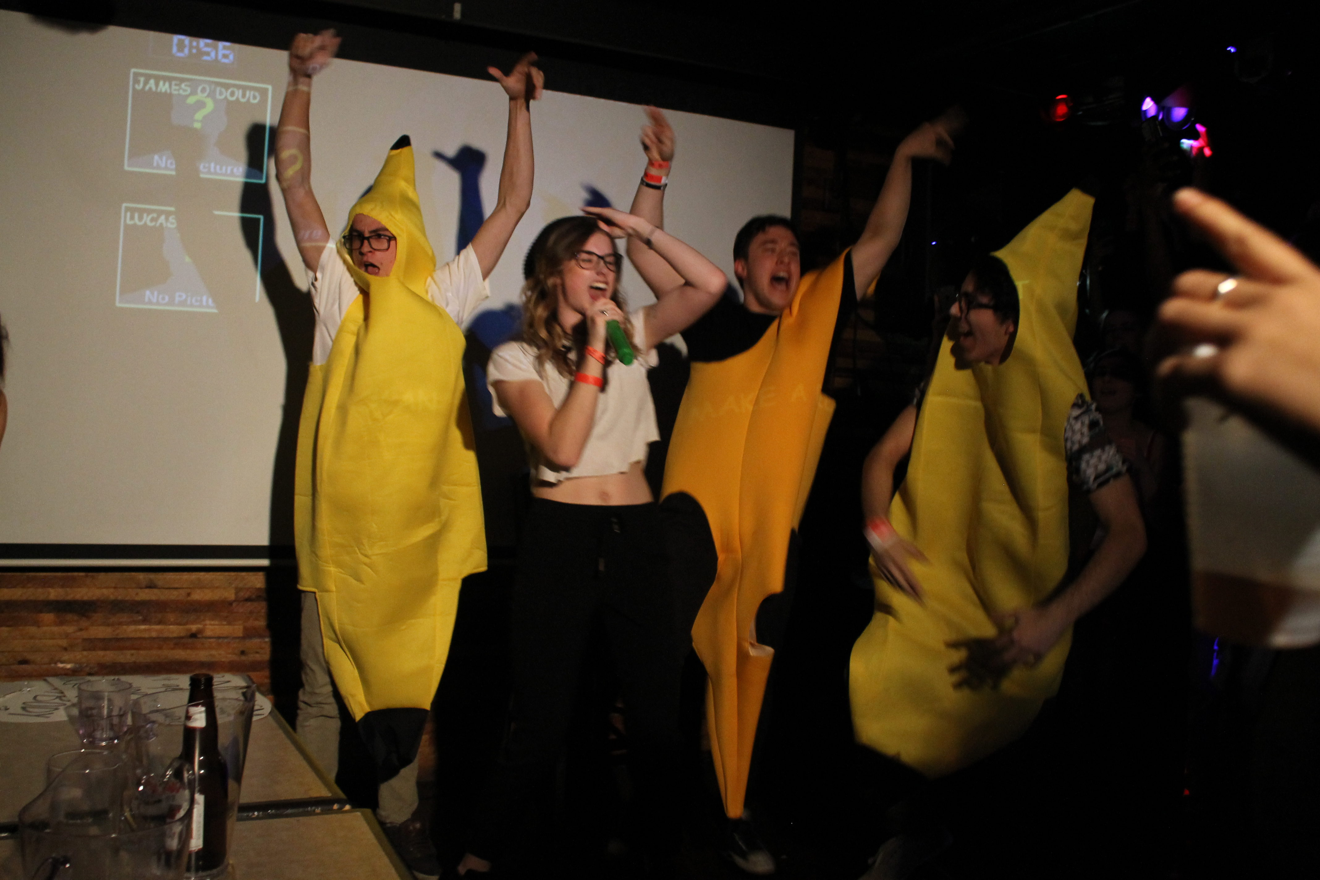 Kelsey from RTA dancing with bananas and singing Hollaback Girl.