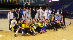 Rams pose at centre court at the University of British Columbia after winning their second bronze medal in a row at the national championships on March 20.  (Courtesy Twitter/@ryersonrams)