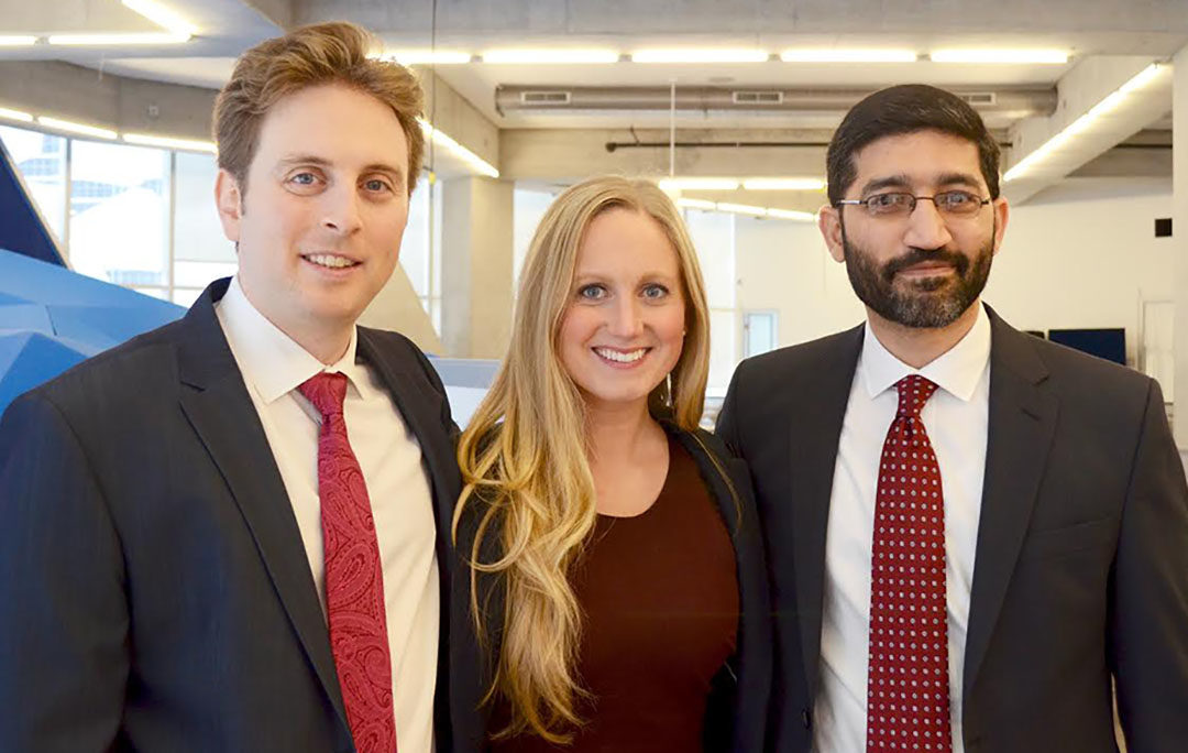 From left-to-right: Jesse Berger, Krysten Connely and Saad Rahman. (Courtesy of Suelan Toye)