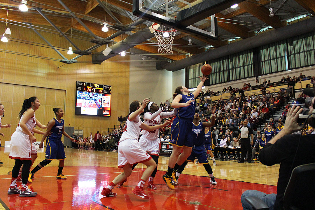 The Ryerson women's basketball team will move on to the gold medal game after defeatign McGill University Saturday afternoon. (Rebecca Goss/Ryersonian Staff)