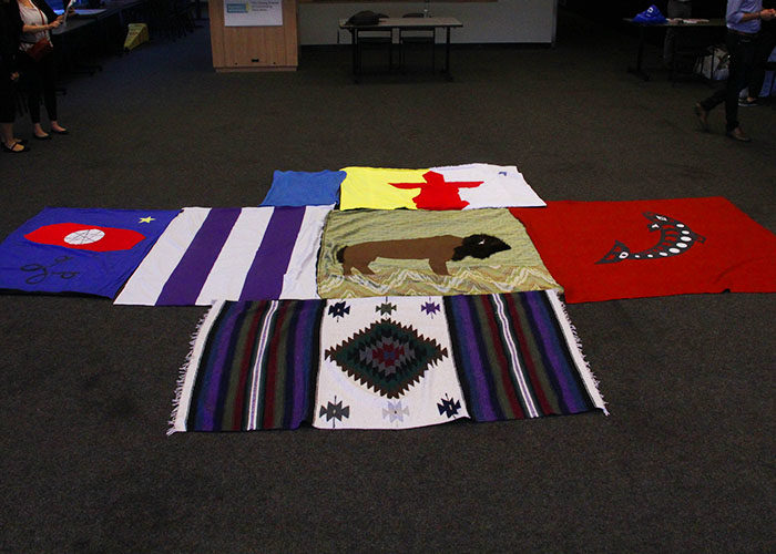 The blankets represent the northern part of North America, once known as Turtle Island.