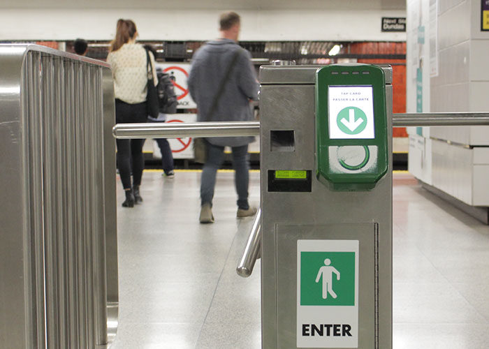 A photo of a Presto card reader at a TTC subway station.