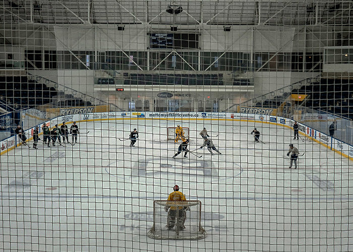 Inside the Mattamy Athletic Centre during a Ryerson Rams men's hockey practice, Nov. 23, 2015. (Steven Goetz/Ryersonian Staff)
