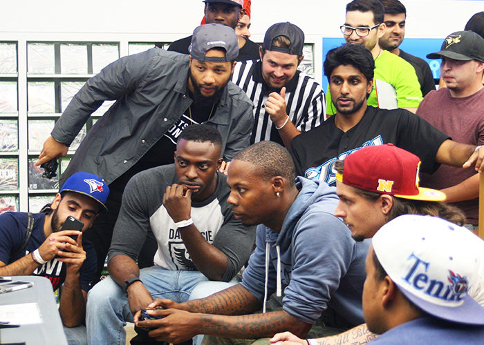 Competitors lookCompetitors look on during the Madden NFL 17 showdown on Saturday, Sept 10. (Brooks Harvey) on during the Madden NFL Showdown on Saturday, Sept 10. (Brooks Harvey/Ryersonian)